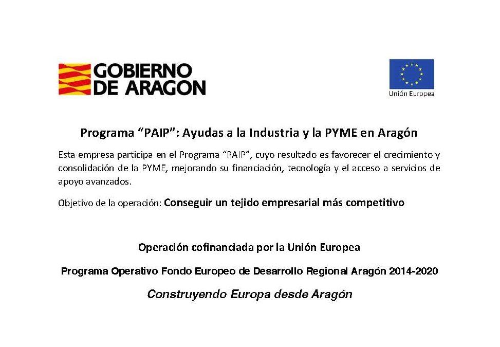 Rigual, SA, participa en el Programa Operativo FEDER Aragón 2014 – 2020