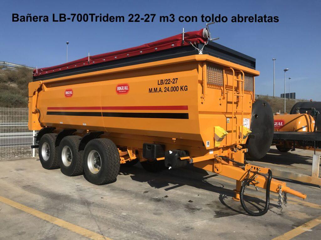 Bañera agricola rigual LB-700Tridem 27 m3 con toldo abrelatas
