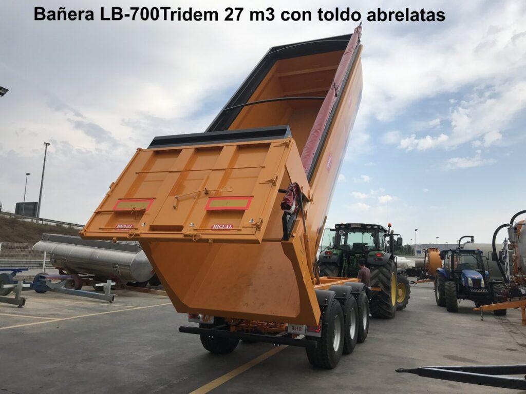 Bañera LB-700 tridem 27 m3 con toldo abrelatas