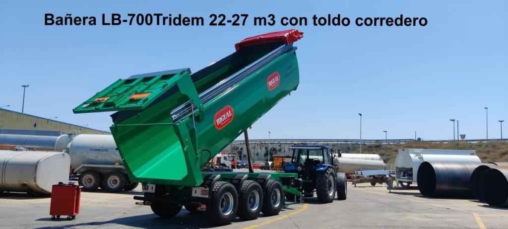 Bañera agricola rigual LB-700Tridem 22-27 m3 con toldo corredero