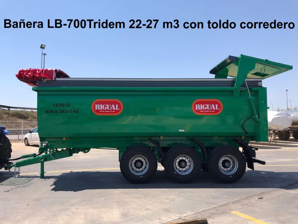 Bañera agrícola rigual LB-700 Tridem 22-27m3 todo corredero