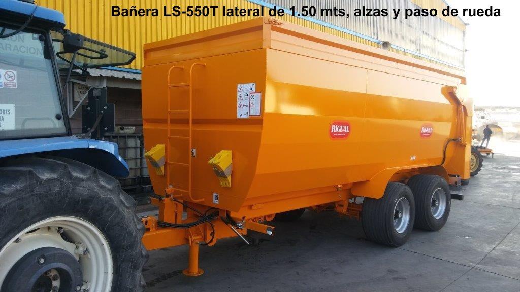 Bañera rigual para viña LS-550T lateral de 1.50 mts con alzas y paso de rueda