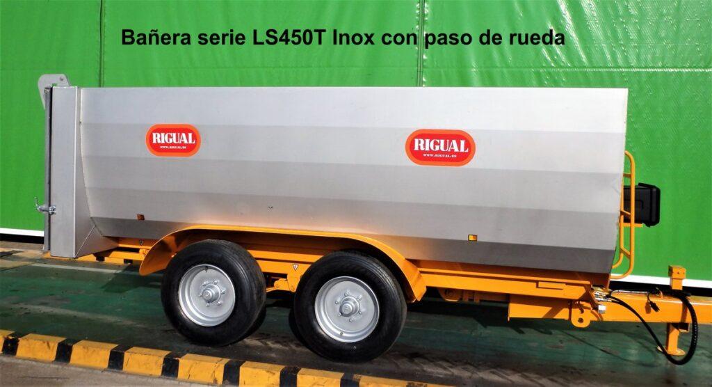 Remolque bañera viña rigual LS-450T inox con paso de rueda