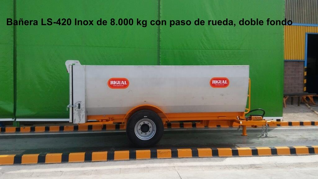 bañera rigual viña LS-420 8.000 KG INOX, PASO RUEDA Y DOBLE FONDO