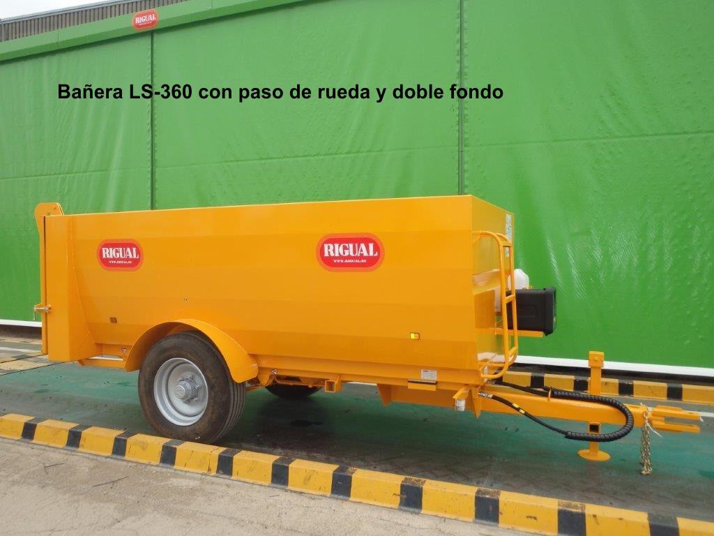 Remolque bañera rigual LS-360 PASO DE RUEDA Y DOBLE FONDO